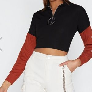 "Nasty Gal ""Sleeve Me Be Zip Top"""